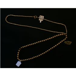 Two 14k Hollow Bead Necklaces