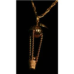 14k Yellow Gold Flying Balloon Pendant and Chain,