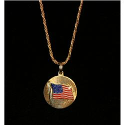 14k Yellow Gold Pendant and Chain,