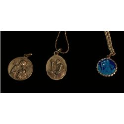 Three Silver Religious Charms and Chains,