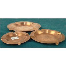 3 Copper Ashtrays