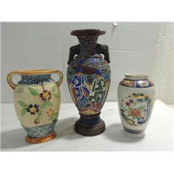 LOT 3 VINTAGE ORIENT CERAMIC VASES