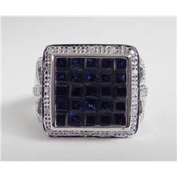 14K White Gold Blue Sapphire Ring -Square Checkerboard