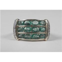 14K Yellow Gold Emerald Ring w/ Rows of 12 Oval Stones