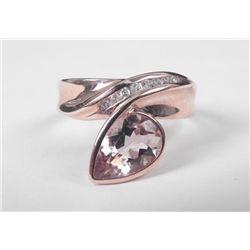 10K Rose Gold Morganite Ring-Pear Shape Stone, Diamonds