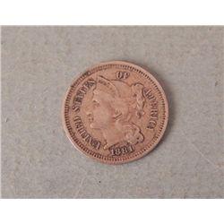 Very High Grade 1881 U.S. 3 Cent Nickel -Great Detail