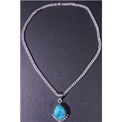 Mexican Silver Turquoise Teardrop Pendant on Necklace