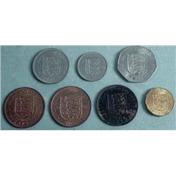 7 Jersey Old Coins Shilling Pence 1945-1981
