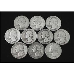 10 Different Date Silver Washington Quarters 1934-64