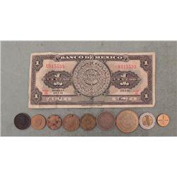 9 Old Mexican Coins & 1961 Paper Un Peso