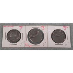 3 Mint Error Off Center Nickels 1981-P, 1983-D