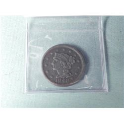 1848 Large Cent Coronet Head-High Grade, Strong, Sealed