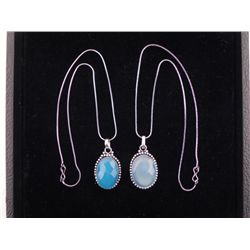 2 Different Blue Topaz Sterling Pendants, Necklaces