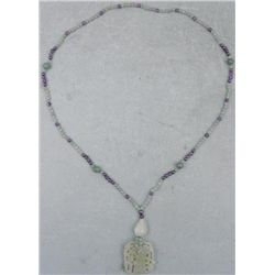 Carved Jadeite Tropical Flower Pendant, Beaded Necklace