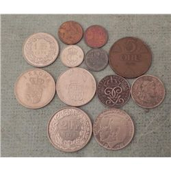 12 Old Coins Switzerland, Sweden, Norway, Denmark
