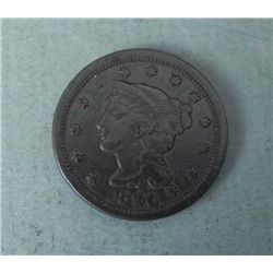 1846 Large Cent Coronet Head -Medium Date, Good Detail