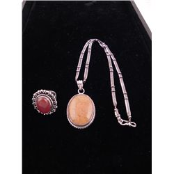 2 Sterling Oval Amber Pendant Necklace, Red Onyx Ring