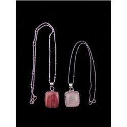 2 Sterling Square Rose Quartz Agate Pendants, Necklaces
