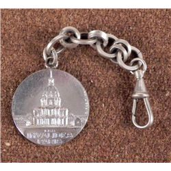 WWII ERA PARIS-LES INVALIDES WATCH CHAIN & FOB W/ CLIP
