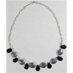 Necklace w/Black Onyx Teardrops & Silver Tone Discs