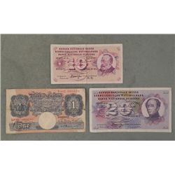 3 Old Bank Notes Bank of England & Switzerland 1969-72