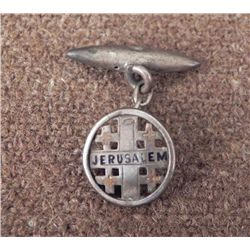 WWII ERA JERUSALEM INSIGNIA ON CHAIN & RETAINER SILVER