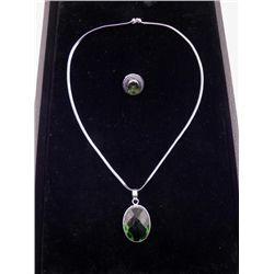 Peridot 2 Pc Sterling German Ring, Pendant Necklace Set
