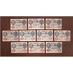 20 REICHMARK BANK NOTES FROM EARLY 1900'S