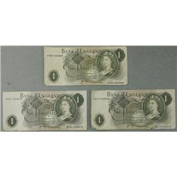 3 Bank of England One Pound Notes 1970
