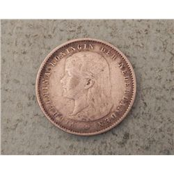 Netherlands 1894 25 Cent - Rare Date
