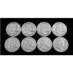 8 Diff Date Franklin Half Dollars -Nice Detailed Coins