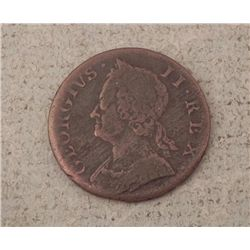 Great Britain 1749 Half Penny -Used in Colonial America