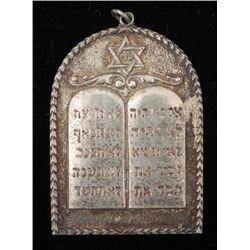 Sterling Silver Star & 10 Commandments Pendant -Judaica