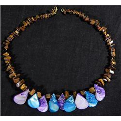 Necklace w/Tigers Eye Stones & Blue & Purple Shells