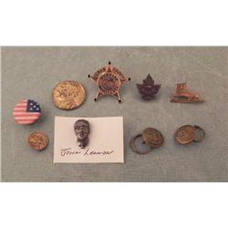 8 Diff Antique & Old Pins BSA, Lennon, USA Flag