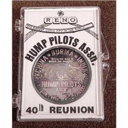 ORIG WWII CBI HUMP PILOTS .999 SILVER 40TH REUNION COIN