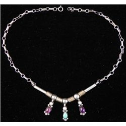 Sterling Silver Necklace w/ Pearls, Amethyst, Turquoise