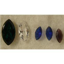 5 Assorted Gemstones Marquise Chrome Diapside, Sapphire
