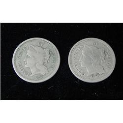 2 Three Cent Nickels 1867, 1868