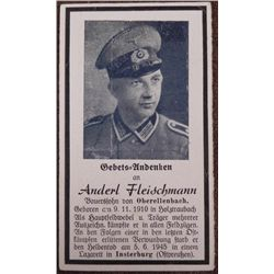 ORIG WEHRMACHT NAZI SOLDIERS FUNERAL PRAYER CARD-KILLED