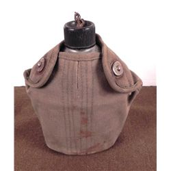 WWII METAL FIELD CANTEEN & OD CANVAS COVER