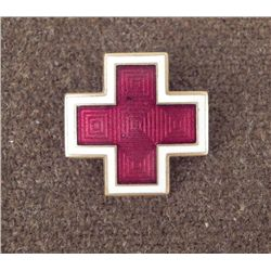 ANTIQUE ENAMEL RED CROSS MEDAL/PIN-MARKED