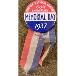 1937 MEMORIAL DAY BUTTON BOHEMIAN NATIONAL CEMETERY