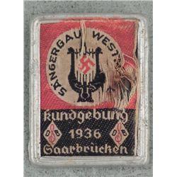 1936 NAZI GAU BADGE-SAAR BRUCHEN-TIN & FABRIC