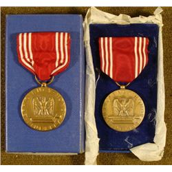 2 1943 GOOD CONDUCT MEDALS-ONE NAMED ORIG BOX