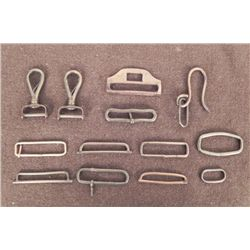 13 BRASS U.S. MILITARY BELT RETAINERS-EQUIP HOOKS