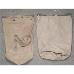 2 US WWII DUFFEL BAGS-I CANVAS-1 RAINPROOF TYPE
