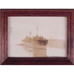 WWII 1944 U.S. BATTLESHIP G I PHOTO NEW GUINEA -FRAMED