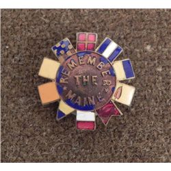 REMEMBER THE MAINE  ORIG ENAMEL PIN: SPAN-AM WAR