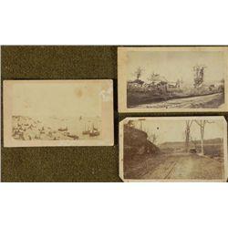 3 Antique CDV Photographs Outdoor Shots: Farm, Beach